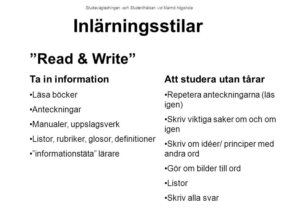 """Studievägledningen och Studenthälsan vid Malmö högskola Inlärningsstilar """"Read & Write"""" Ta in information Läsa böcker Anteckningar Manualer, uppslagsv"""