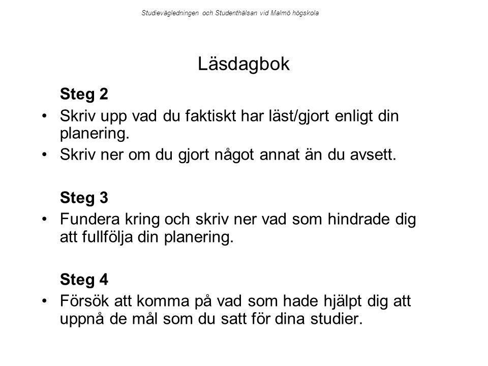 Studievägledningen och Studenthälsan vid Malmö högskola Läsdagbok Steg 2 Skriv upp vad du faktiskt har läst/gjort enligt din planering. Skriv ner om d