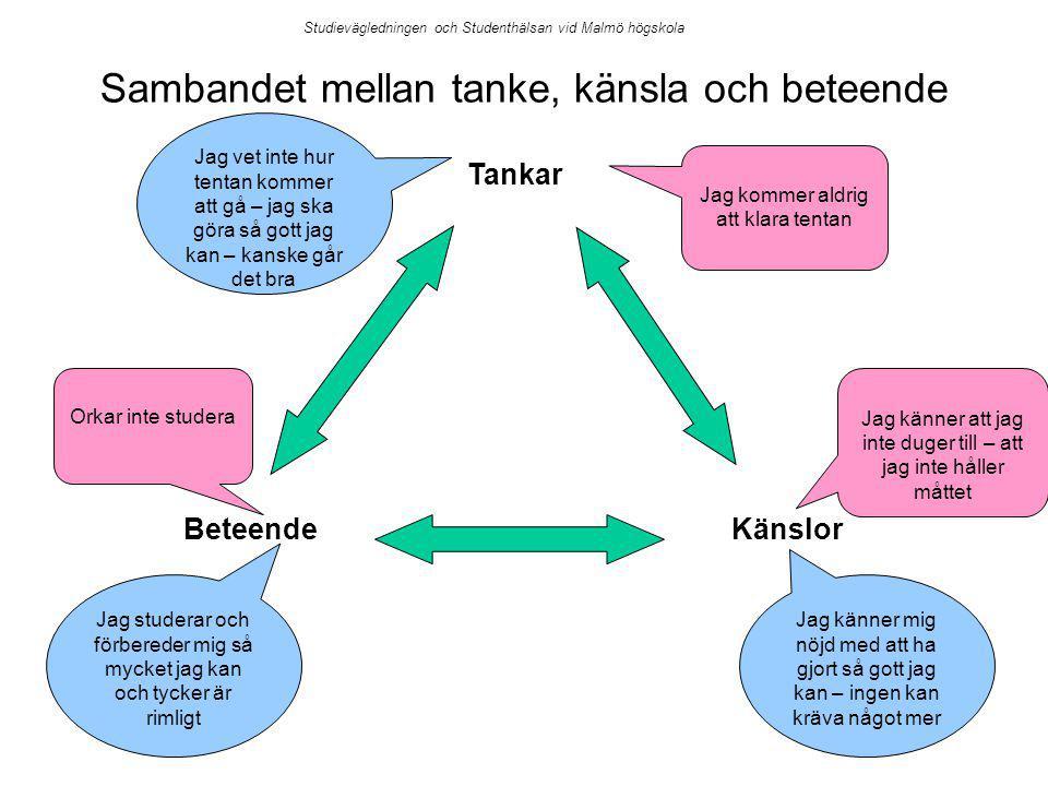 Tankar KänslorBeteende Jag kommer aldrig att klara tentan Jag känner att jag inte duger till – att jag inte håller måttet Orkar inte studera Jag vet inte hur tentan kommer att gå – jag ska göra så gott jag kan – kanske går det bra Jag känner mig nöjd med att ha gjort så gott jag kan – ingen kan kräva något mer Jag studerar och förbereder mig så mycket jag kan och tycker är rimligt Studievägledningen och Studenthälsan vid Malmö högskola Sambandet mellan tanke, känsla och beteende
