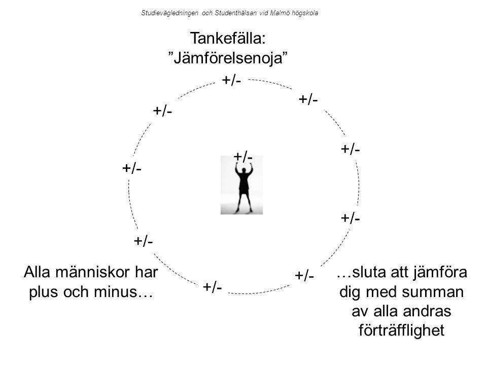 Studievägledningen och Studenthälsan vid Malmö högskola Tankefälla: Jämförelsenoja +/- …sluta att jämföra dig med summan av alla andras förträfflighet Alla människor har plus och minus…