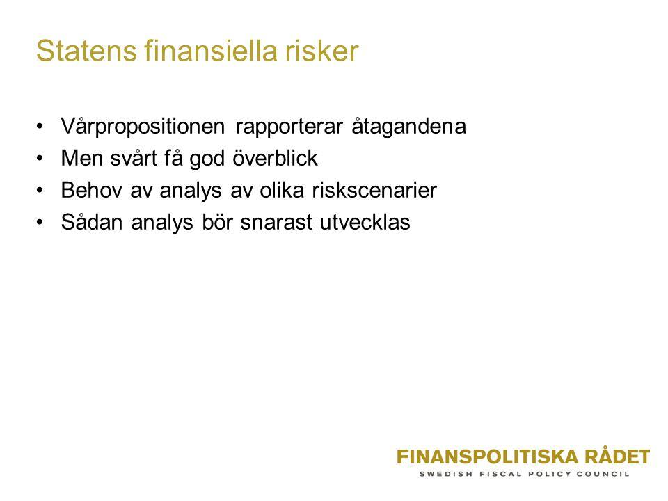 Statens finansiella risker Vårpropositionen rapporterar åtagandena Men svårt få god överblick Behov av analys av olika riskscenarier Sådan analys bör snarast utvecklas