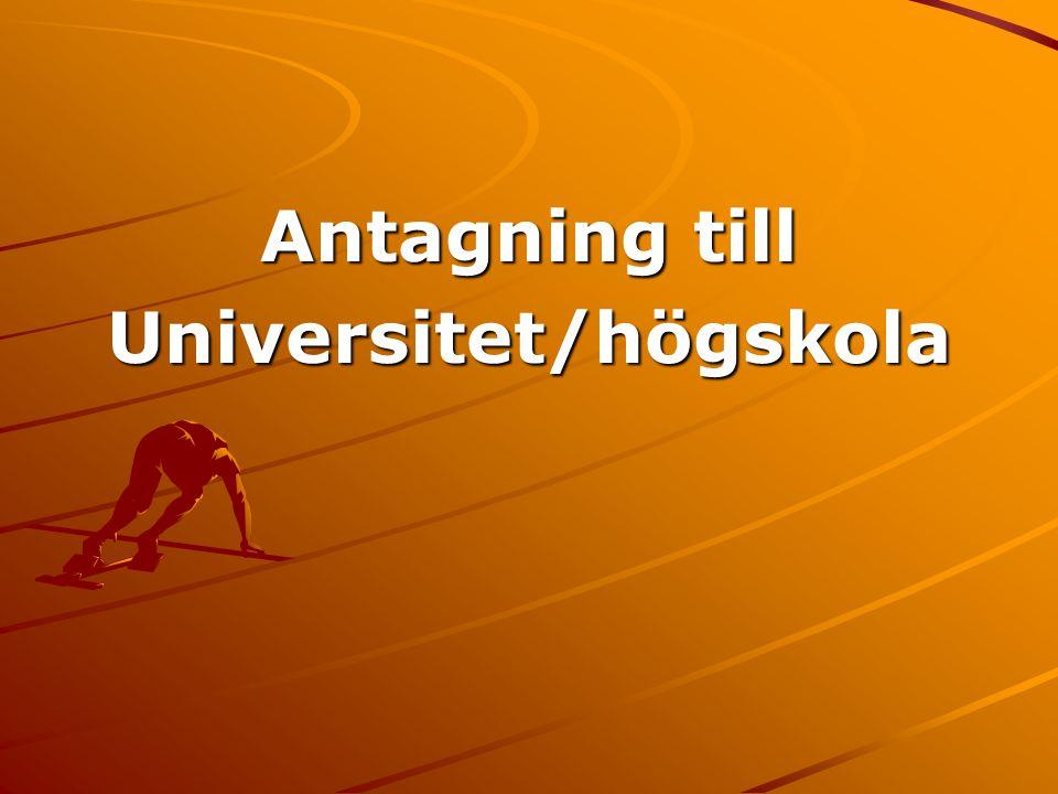 Antagning till Universitet/högskola