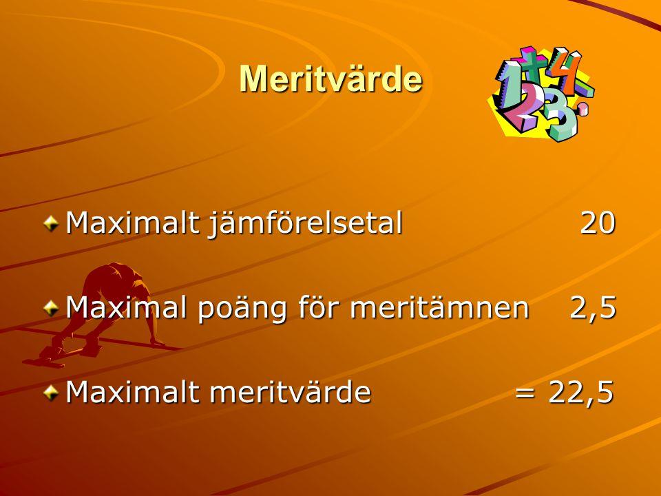 Meritvärde Maximalt jämförelsetal 20 Maximal poäng för meritämnen2,5 Maximalt meritvärde = 22,5