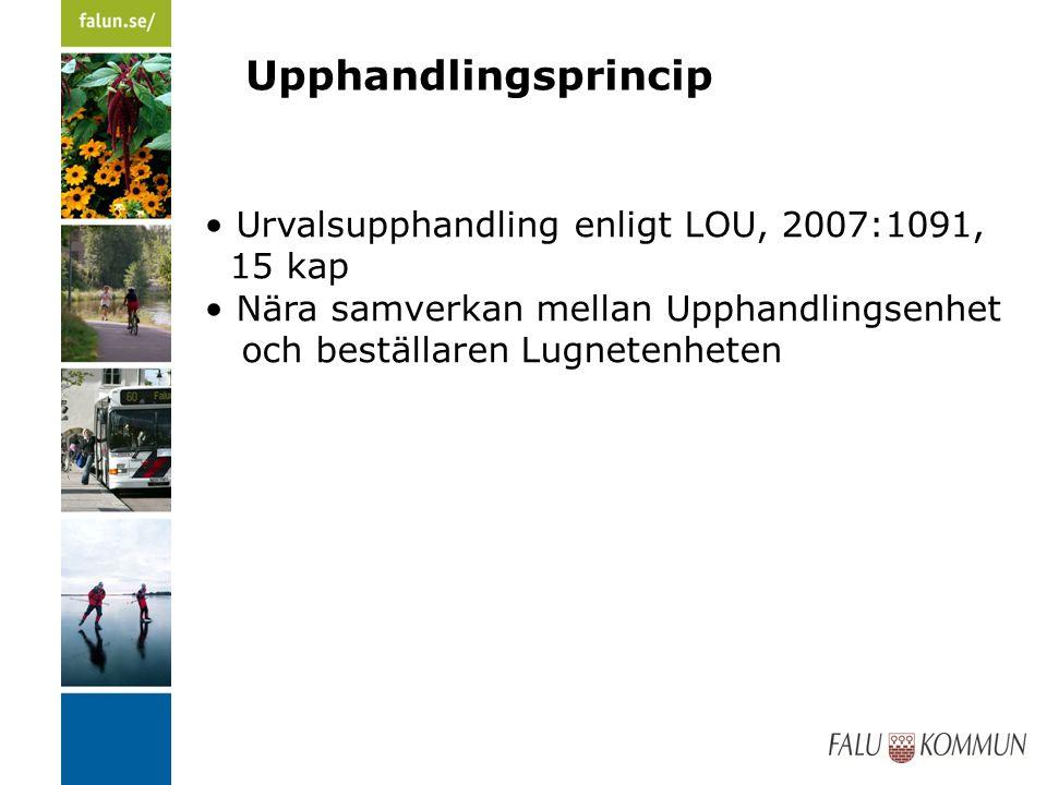 Upphandlingsprincip Urvalsupphandling enligt LOU, 2007:1091, 15 kap Nära samverkan mellan Upphandlingsenhet och beställaren Lugnetenheten