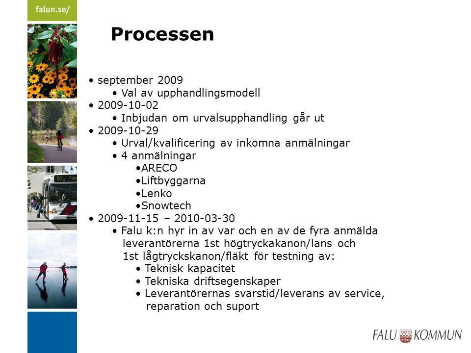 Processen september 2009 Val av upphandlingsmodell 2009-10-02 Inbjudan om urvalsupphandling går ut 2009-10-29 Urval/kvalificering av inkomna anmälningar 4 anmälningar ARECO Liftbyggarna Lenko Snowtech 2009-11-15 – 2010-03-30 Falu k:n hyr in av var och en av de fyra anmälda leverantörerna 1st högtryckakanon/lans och 1st lågtryckskanon/fläkt för testning av: Teknisk kapacitet Tekniska driftsegenskaper Leverantörernas svarstid/leverans av service, reparation och suport