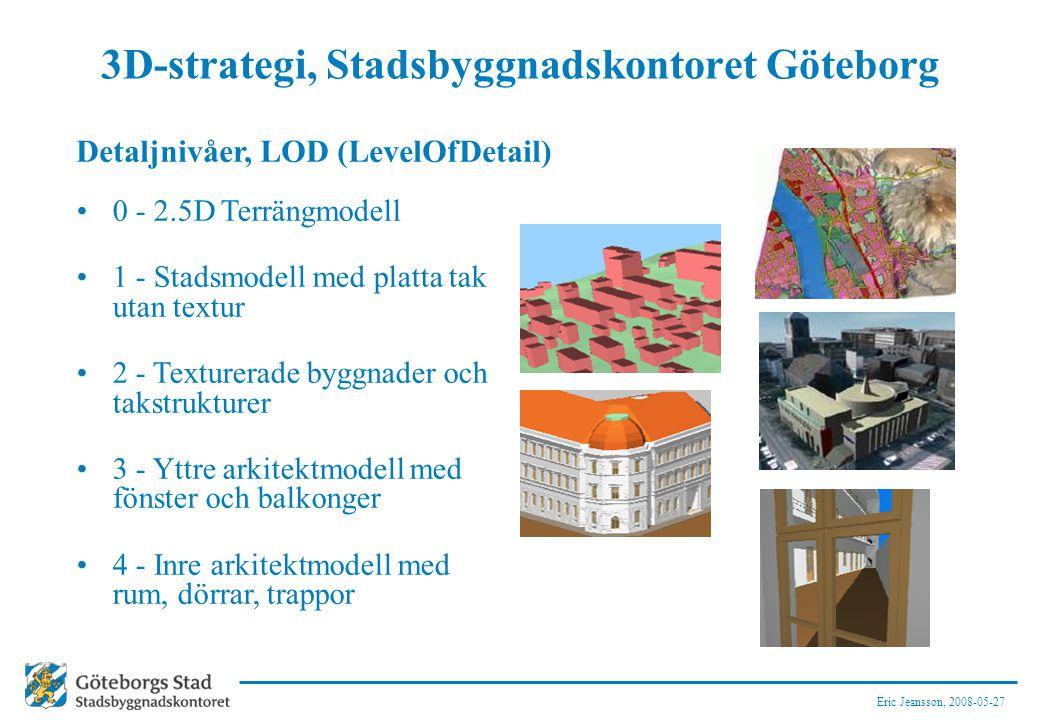 Eric Jeansson, 2008-05-27 3D-strategi, Stadsbyggnadskontoret Göteborg 0 - 2.5D Terrängmodell 1 - Stadsmodell med platta tak utan textur 2 - Texturerade byggnader och takstrukturer 3 - Yttre arkitektmodell med fönster och balkonger 4 - Inre arkitektmodell med rum, dörrar, trappor Detaljnivåer, LOD (LevelOfDetail)
