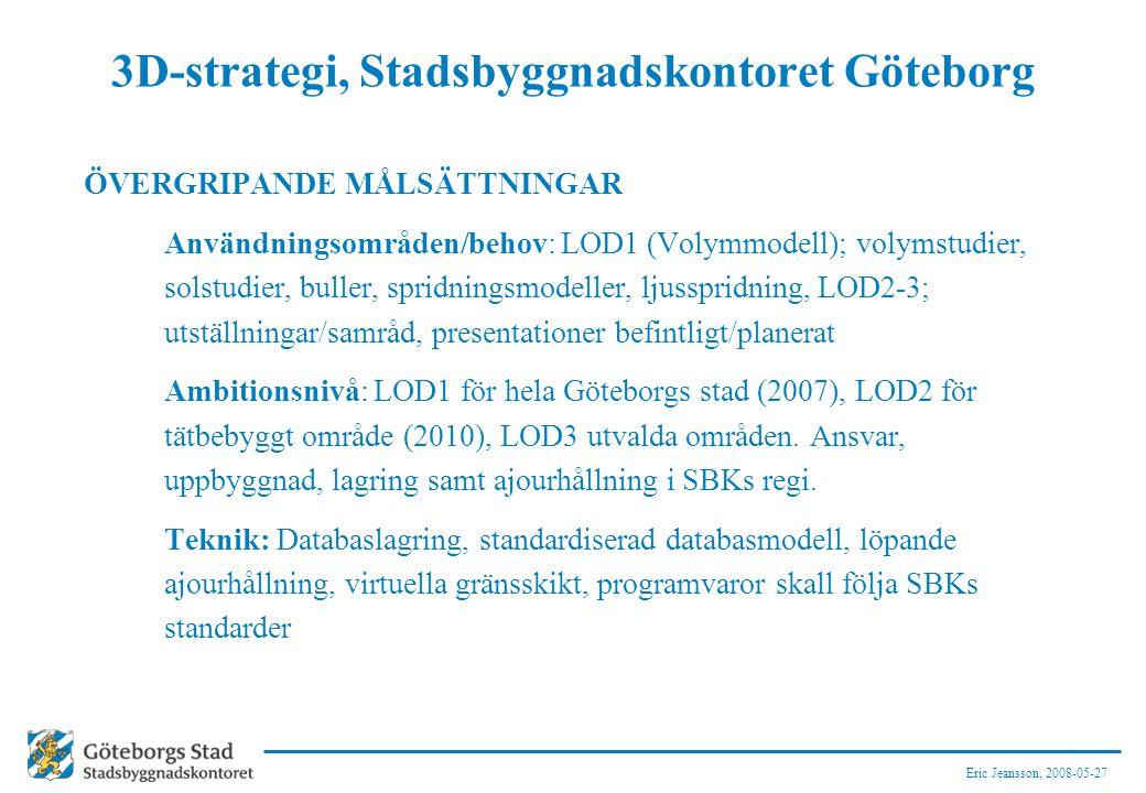 Eric Jeansson, 2008-05-27 3D-strategi, Stadsbyggnadskontoret Göteborg ÖVERGRIPANDE MÅLSÄTTNINGAR Användningsområden/behov: LOD1 (Volymmodell); volymst