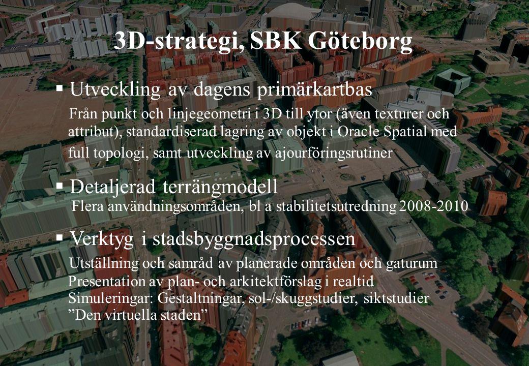 Eric Jeansson, 2008-05-27 3D-strategi, SBK Göteborg  Utveckling av dagens primärkartbas Från punkt och linjegeometri i 3D till ytor (även texturer och attribut), standardiserad lagring av objekt i Oracle Spatial med full topologi, samt utveckling av ajourföringsrutiner  Detaljerad terrängmodell Flera användningsområden, bl a stabilitetsutredning 2008-2010  Verktyg i stadsbyggnadsprocessen Utställning och samråd av planerade områden och gaturum Presentation av plan- och arkitektförslag i realtid Simuleringar: Gestaltningar, sol-/skuggstudier, siktstudier Den virtuella staden