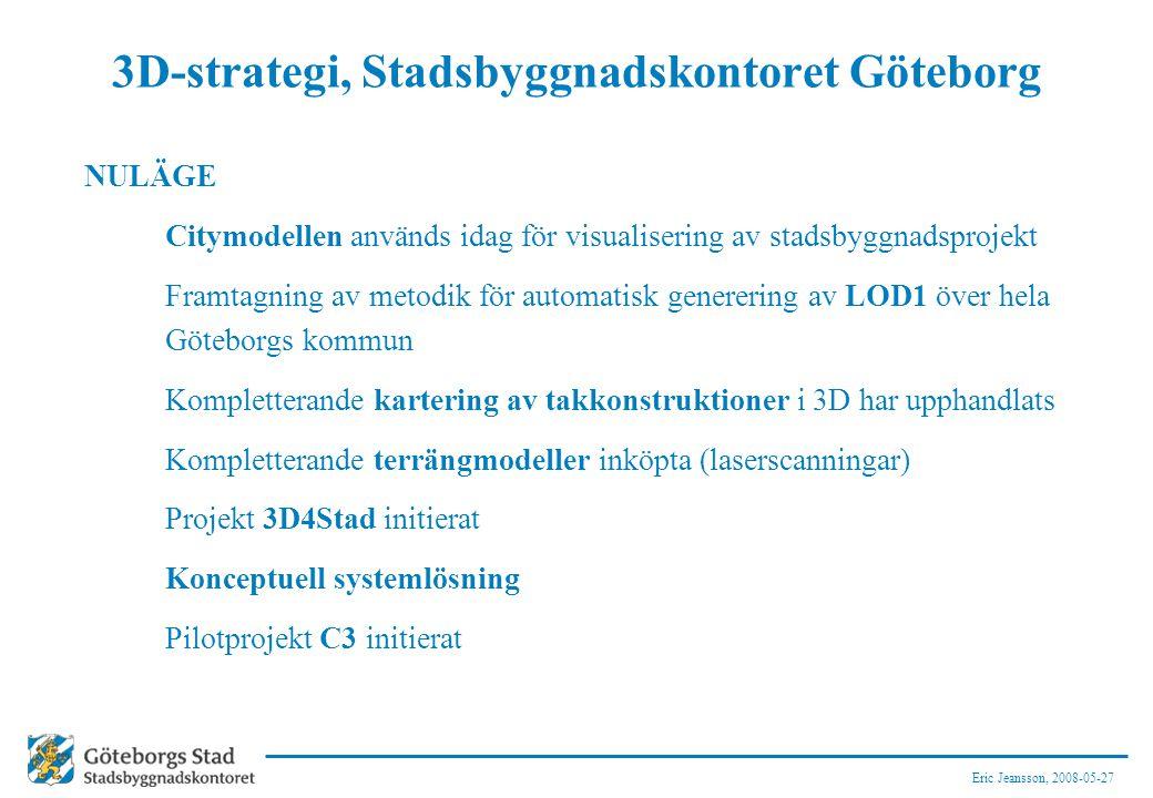 Eric Jeansson, 2008-05-27 3D-strategi, Stadsbyggnadskontoret Göteborg NULÄGE Citymodellen används idag för visualisering av stadsbyggnadsprojekt Framtagning av metodik för automatisk generering av LOD1 över hela Göteborgs kommun Kompletterande kartering av takkonstruktioner i 3D har upphandlats Kompletterande terrängmodeller inköpta (laserscanningar) Projekt 3D4Stad initierat Konceptuell systemlösning Pilotprojekt C3 initierat