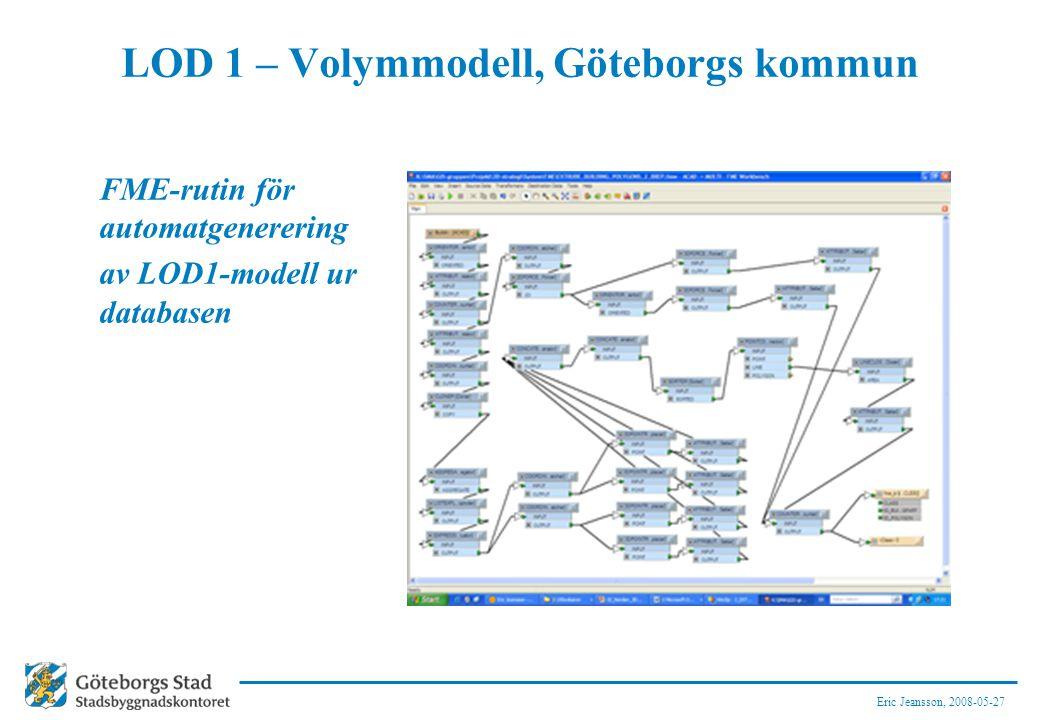 Eric Jeansson, 2008-05-27 LOD 1 – Volymmodell, Göteborgs kommun FME-rutin för automatgenerering av LOD1-modell ur databasen