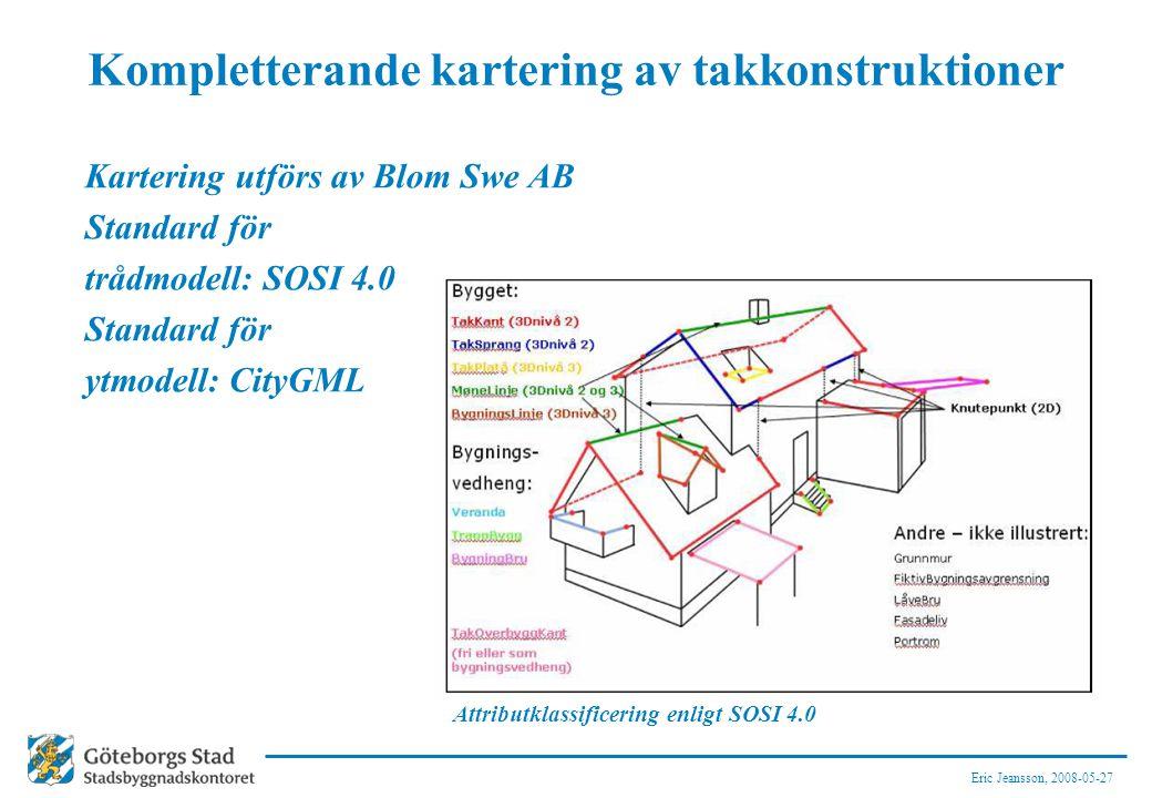 Eric Jeansson, 2008-05-27 Kompletterande kartering av takkonstruktioner Kartering utförs av Blom Swe AB Standard för trådmodell: SOSI 4.0 Standard för ytmodell: CityGML Attributklassificering enligt SOSI 4.0