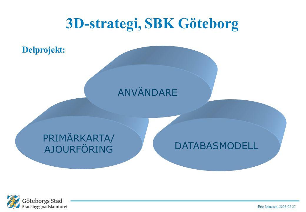Eric Jeansson, 2008-05-27 3D-strategi, SBK Göteborg Delprojekt: DATABASMODELL PRIMÄRKARTA/ AJOURFÖRING ANVÄNDARE