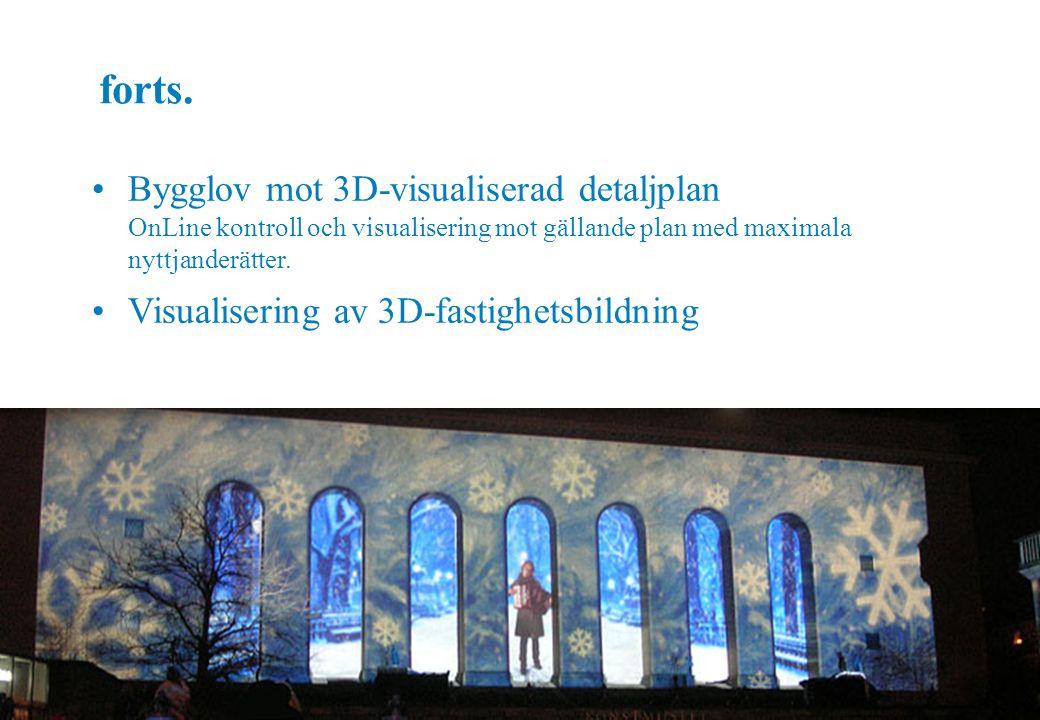 Eric Jeansson, 2008-05-27 forts. Bygglov mot 3D-visualiserad detaljplan OnLine kontroll och visualisering mot gällande plan med maximala nyttjanderätt