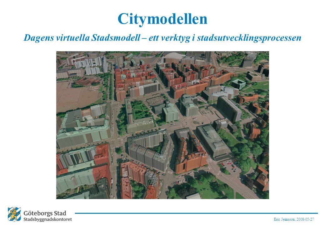 Eric Jeansson, 2008-05-27 Citymodellen Dagens virtuella Stadsmodell – ett verktyg i stadsutvecklingsprocessen