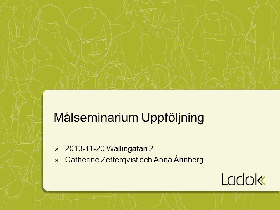 Målseminarium Uppföljning »2013-11-20 Wallingatan 2 »Catherine Zetterqvist och Anna Åhnberg