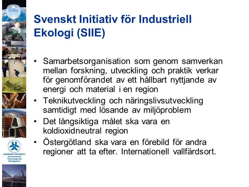 Svenskt Initiativ för Industriell Ekologi (SIIE) Samarbetsorganisation som genom samverkan mellan forskning, utveckling och praktik verkar för genomförandet av ett hållbart nyttjande av energi och material i en region Teknikutveckling och näringslivsutveckling samtidigt med lösande av miljöproblem Det långsiktiga målet ska vara en koldioxidneutral region Östergötland ska vara en förebild för andra regioner att ta efter.