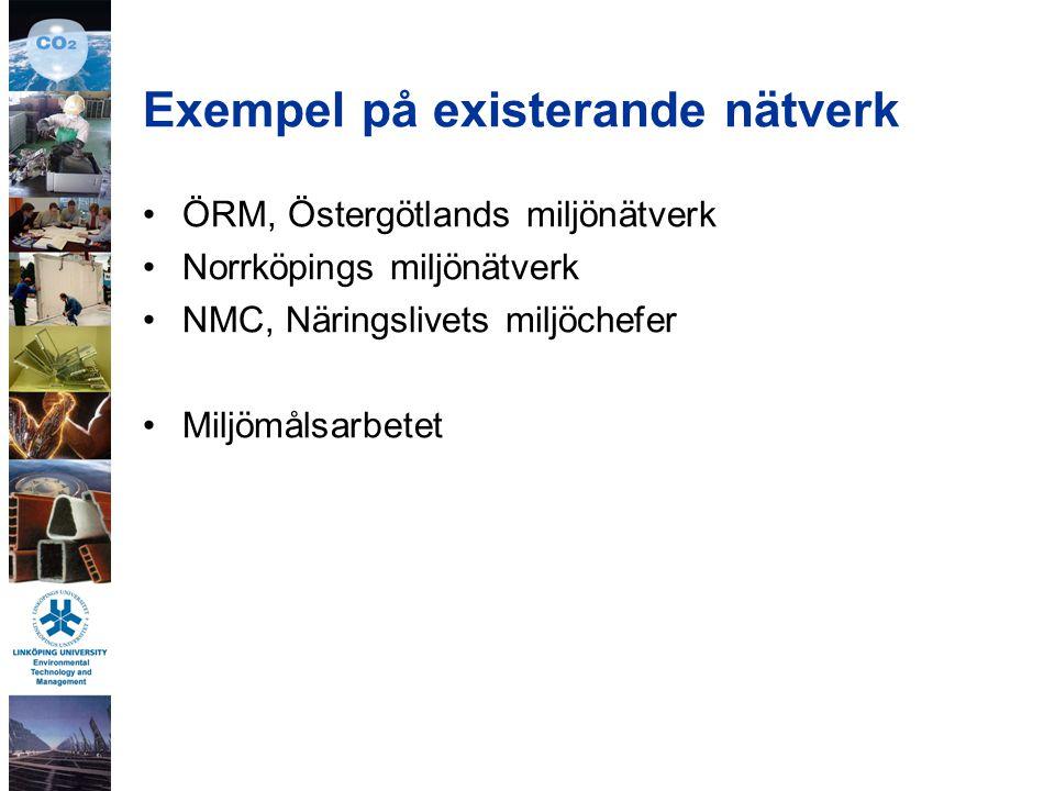 Exempel på existerande nätverk ÖRM, Östergötlands miljönätverk Norrköpings miljönätverk NMC, Näringslivets miljöchefer Miljömålsarbetet