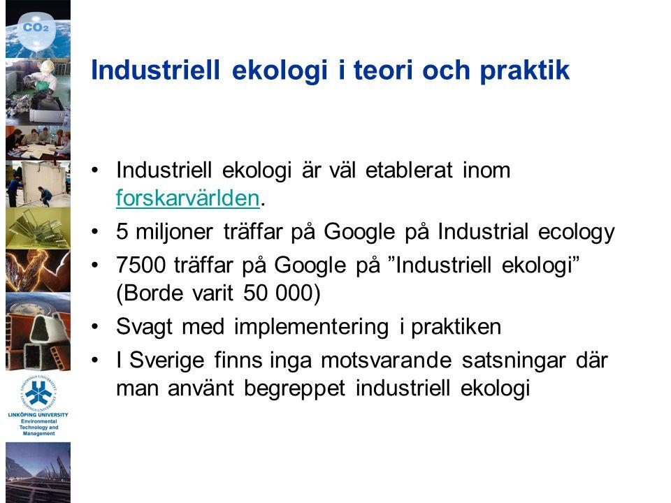 Industriell ekologi i teori och praktik Industriell ekologi är väl etablerat inom forskarvärlden.