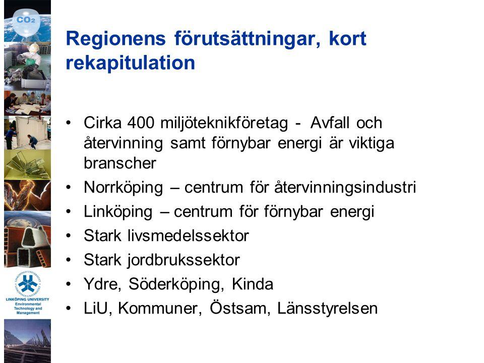 Regionens förutsättningar, kort rekapitulation Cirka 400 miljöteknikföretag - Avfall och återvinning samt förnybar energi är viktiga branscher Norrköping – centrum för återvinningsindustri Linköping – centrum för förnybar energi Stark livsmedelssektor Stark jordbrukssektor Ydre, Söderköping, Kinda LiU, Kommuner, Östsam, Länsstyrelsen