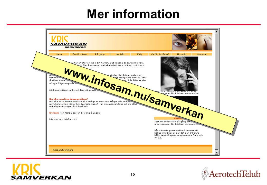 18 Mer information www.infosam.nu/samverkan