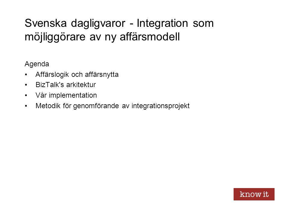 Svenska dagligvaror - Integration som möjliggörare av ny affärsmodell Agenda Affärslogik och affärsnytta BizTalk's arkitektur Vår implementation Metod