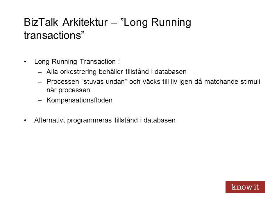"""BizTalk Arkitektur – """"Long Running transactions"""" Long Running Transaction : –Alla orkestrering behåller tillstånd i databasen –Processen """"stuvas undan"""