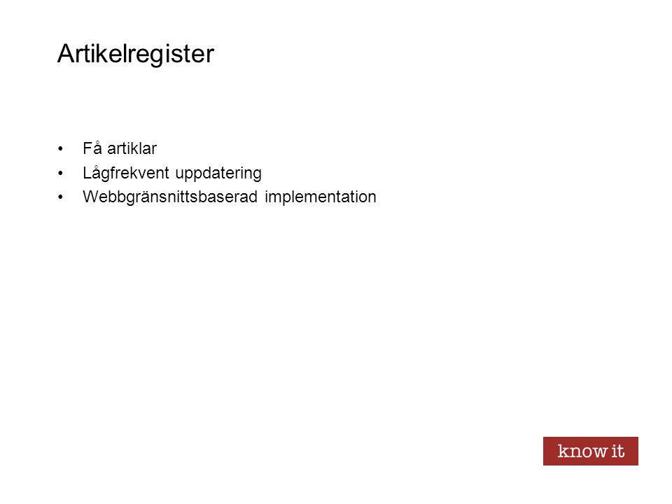 Artikelregister Få artiklar Lågfrekvent uppdatering Webbgränsnittsbaserad implementation