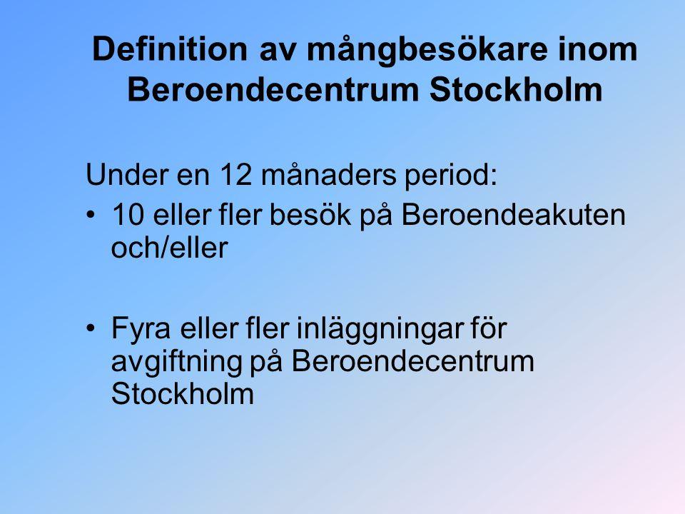 Definition av mångbesökare inom Beroendecentrum Stockholm Under en 12 månaders period: 10 eller fler besök på Beroendeakuten och/eller Fyra eller fler inläggningar för avgiftning på Beroendecentrum Stockholm