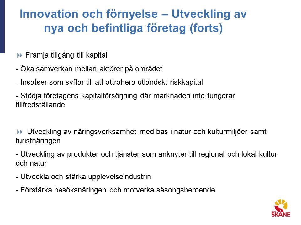 Innovation och förnyelse – Utveckling av nya och befintliga företag (forts)  Främja tillgång till kapital - Öka samverkan mellan aktörer på området -