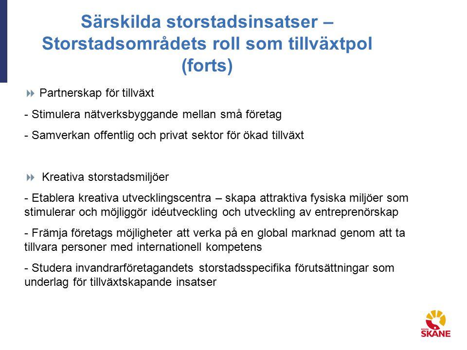 Särskilda storstadsinsatser – Storstadsområdets roll som tillväxtpol (forts)  Partnerskap för tillväxt - Stimulera nätverksbyggande mellan små företa