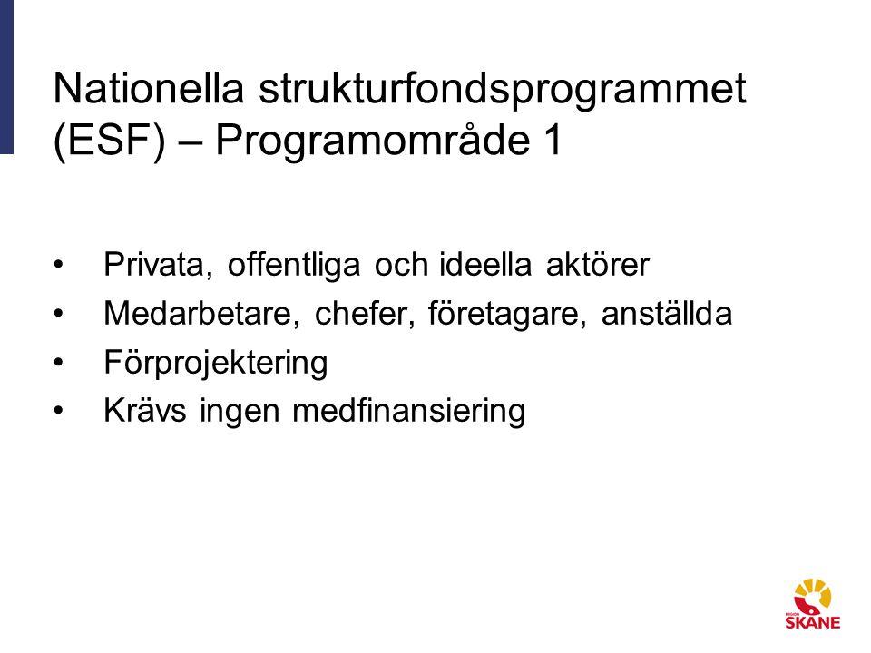 Nationella strukturfondsprogrammet (ESF) – Programområde 1 Privata, offentliga och ideella aktörer Medarbetare, chefer, företagare, anställda Förprojektering Krävs ingen medfinansiering