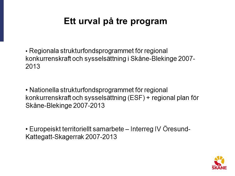 Ett urval på tre program Regionala strukturfondsprogrammet för regional konkurrenskraft och sysselsättning i Skåne-Blekinge 2007- 2013 Nationella strukturfondsprogrammet för regional konkurrenskraft och sysselsättning (ESF) + regional plan för Skåne-Blekinge 2007-2013 Europeiskt territoriellt samarbete – Interreg IV Öresund- Kattegatt-Skagerrak 2007-2013