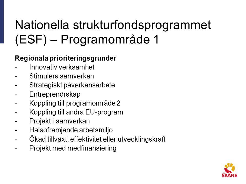 Nationella strukturfondsprogrammet (ESF) – Programområde 1 Regionala prioriteringsgrunder -Innovativ verksamhet -Stimulera samverkan -Strategiskt påverkansarbete -Entreprenörskap -Koppling till programområde 2 -Koppling till andra EU-program -Projekt i samverkan -Hälsofrämjande arbetsmiljö -Ökad tillväxt, effektivitet eller utvecklingskraft -Projekt med medfinansiering