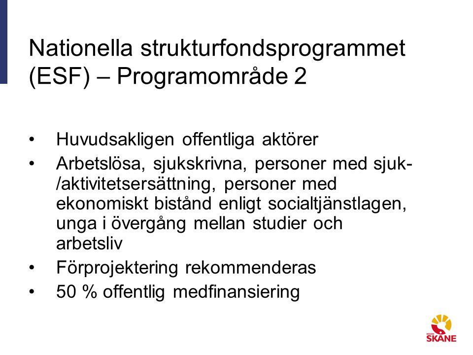 Nationella strukturfondsprogrammet (ESF) – Programområde 2 Huvudsakligen offentliga aktörer Arbetslösa, sjukskrivna, personer med sjuk- /aktivitetsersättning, personer med ekonomiskt bistånd enligt socialtjänstlagen, unga i övergång mellan studier och arbetsliv Förprojektering rekommenderas 50 % offentlig medfinansiering