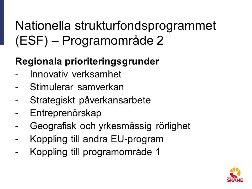 Nationella strukturfondsprogrammet (ESF) – Programområde 2 Regionala prioriteringsgrunder -Innovativ verksamhet -Stimulerar samverkan -Strategiskt påverkansarbete -Entreprenörskap -Geografisk och yrkesmässig rörlighet -Koppling till andra EU-program -Koppling till programområde 1