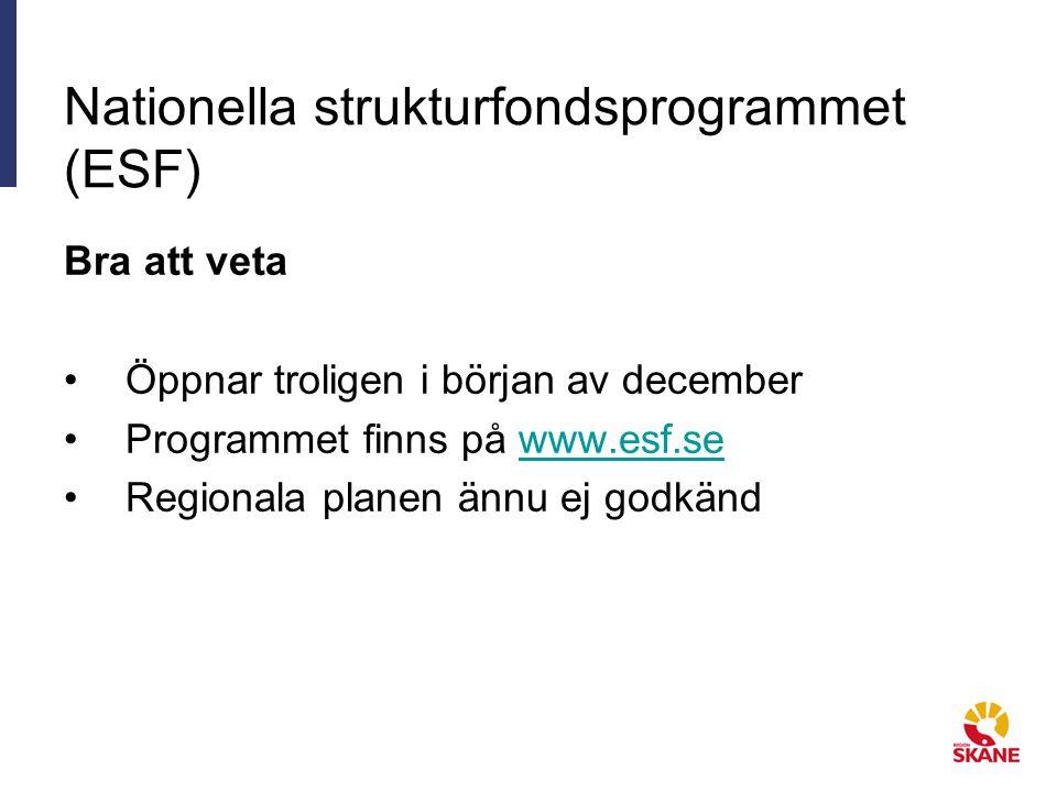 Nationella strukturfondsprogrammet (ESF) Bra att veta Öppnar troligen i början av december Programmet finns på www.esf.sewww.esf.se Regionala planen ännu ej godkänd