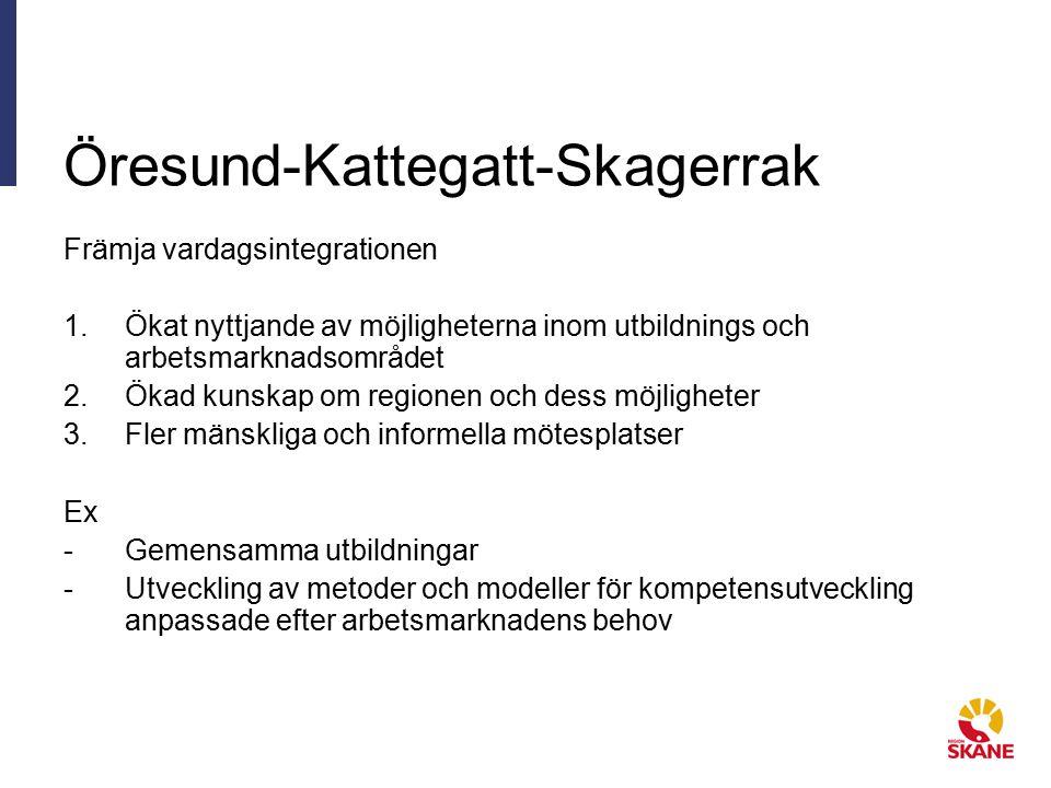 Öresund-Kattegatt-Skagerrak Främja vardagsintegrationen 1.Ökat nyttjande av möjligheterna inom utbildnings och arbetsmarknadsområdet 2.Ökad kunskap om