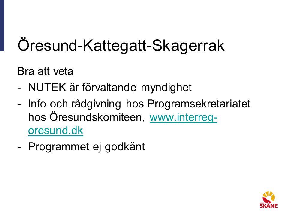 Öresund-Kattegatt-Skagerrak Bra att veta -NUTEK är förvaltande myndighet -Info och rådgivning hos Programsekretariatet hos Öresundskomiteen, www.interreg- oresund.dkwww.interreg- oresund.dk -Programmet ej godkänt