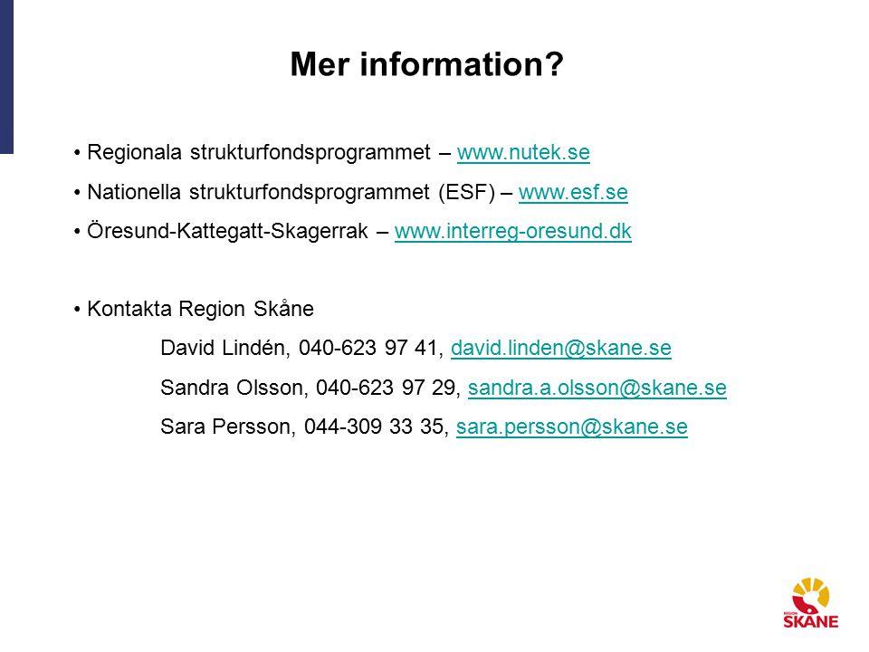 Mer information? Regionala strukturfondsprogrammet – www.nutek.sewww.nutek.se Nationella strukturfondsprogrammet (ESF) – www.esf.sewww.esf.se Öresund-