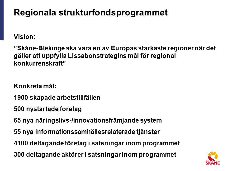 Regionala strukturfondsprogrammet Vision: Skåne-Blekinge ska vara en av Europas starkaste regioner när det gäller att uppfylla Lissabonstrategins mål för regional konkurrenskraft Konkreta mål: 1900 skapade arbetstillfällen 500 nystartade företag 65 nya näringslivs-/innovationsfrämjande system 55 nya informationssamhällesrelaterade tjänster 4100 deltagande företag i satsningar inom programmet 300 deltagande aktörer i satsningar inom programmet