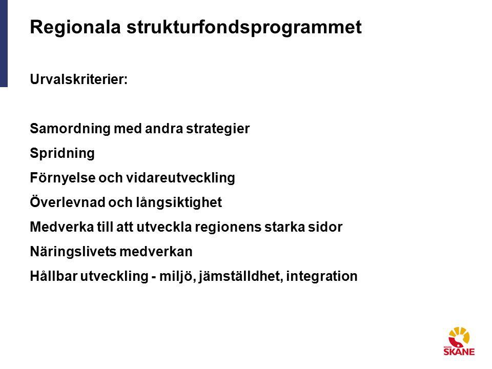 Regionala strukturfondsprogrammet Urvalskriterier: Samordning med andra strategier Spridning Förnyelse och vidareutveckling Överlevnad och långsiktighet Medverka till att utveckla regionens starka sidor Näringslivets medverkan Hållbar utveckling - miljö, jämställdhet, integration