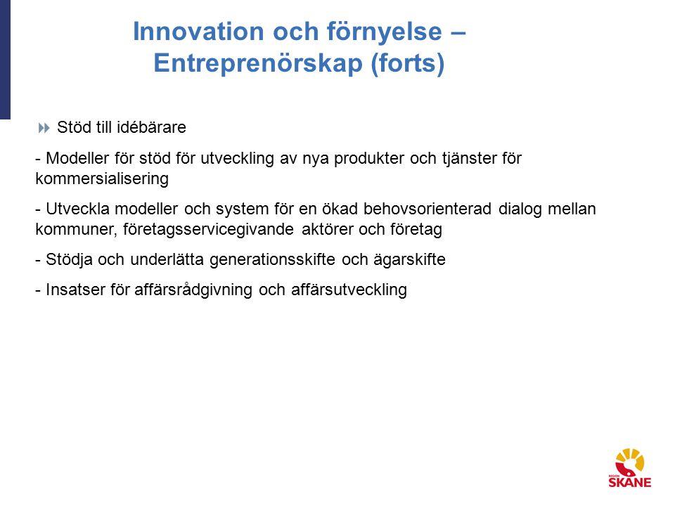 Innovation och förnyelse – Entreprenörskap (forts)  Stöd till idébärare - Modeller för stöd för utveckling av nya produkter och tjänster för kommersialisering - Utveckla modeller och system för en ökad behovsorienterad dialog mellan kommuner, företagsservicegivande aktörer och företag - Stödja och underlätta generationsskifte och ägarskifte - Insatser för affärsrådgivning och affärsutveckling