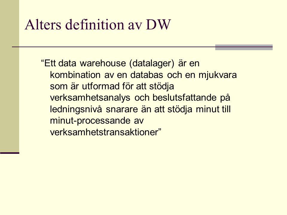 """Alters definition av DW """"Ett data warehouse (datalager) är en kombination av en databas och en mjukvara som är utformad för att stödja verksamhetsanal"""