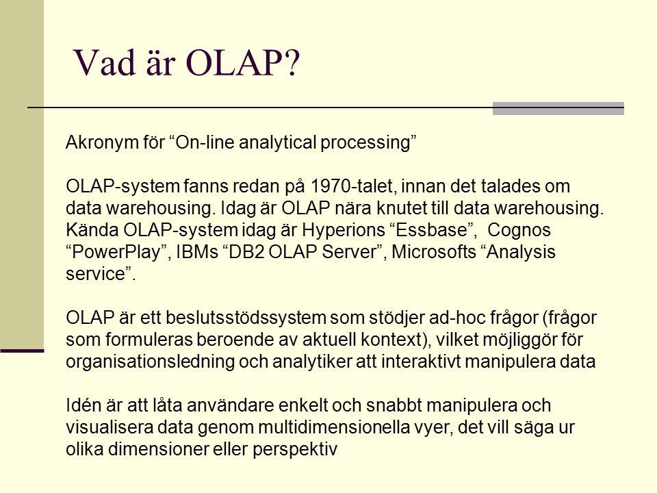 """Vad är OLAP? Akronym för """"On-line analytical processing"""" OLAP-system fanns redan på 1970-talet, innan det talades om data warehousing. Idag är OLAP nä"""