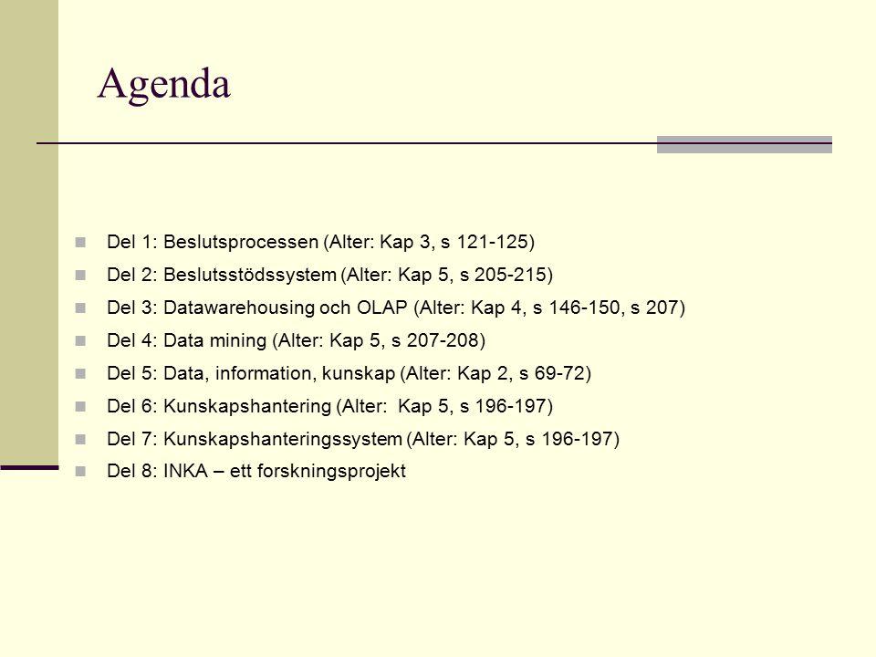 Agenda Del 1: Beslutsprocessen (Alter: Kap 3, s 121-125) Del 2: Beslutsstödssystem (Alter: Kap 5, s 205-215) Del 3: Datawarehousing och OLAP (Alter: K