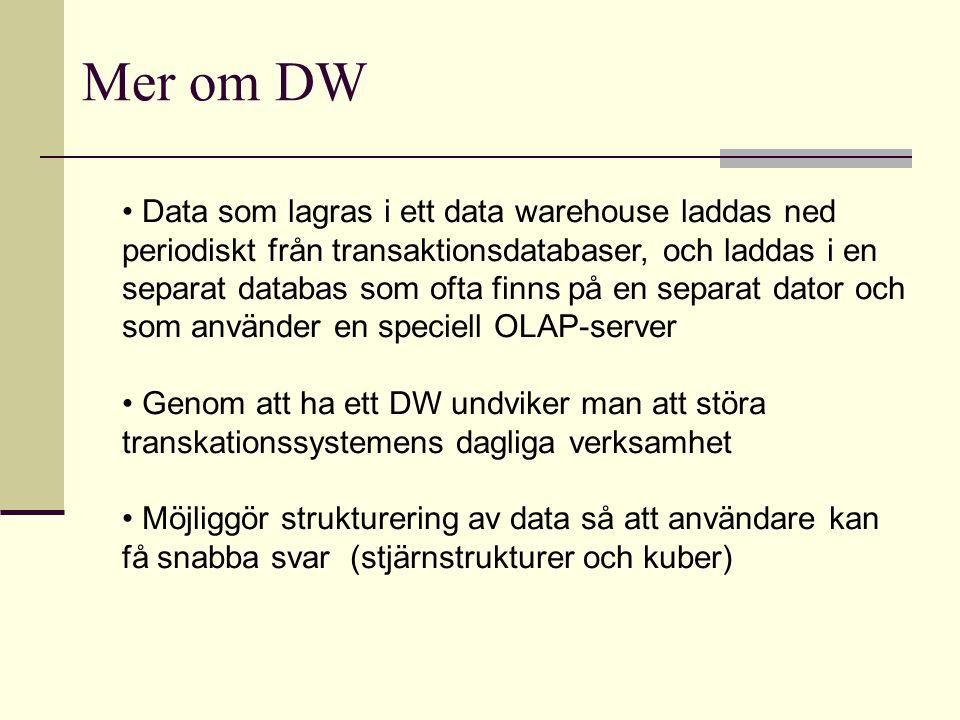 Data som lagras i ett data warehouse laddas ned periodiskt från transaktionsdatabaser, och laddas i en separat databas som ofta finns på en separat da