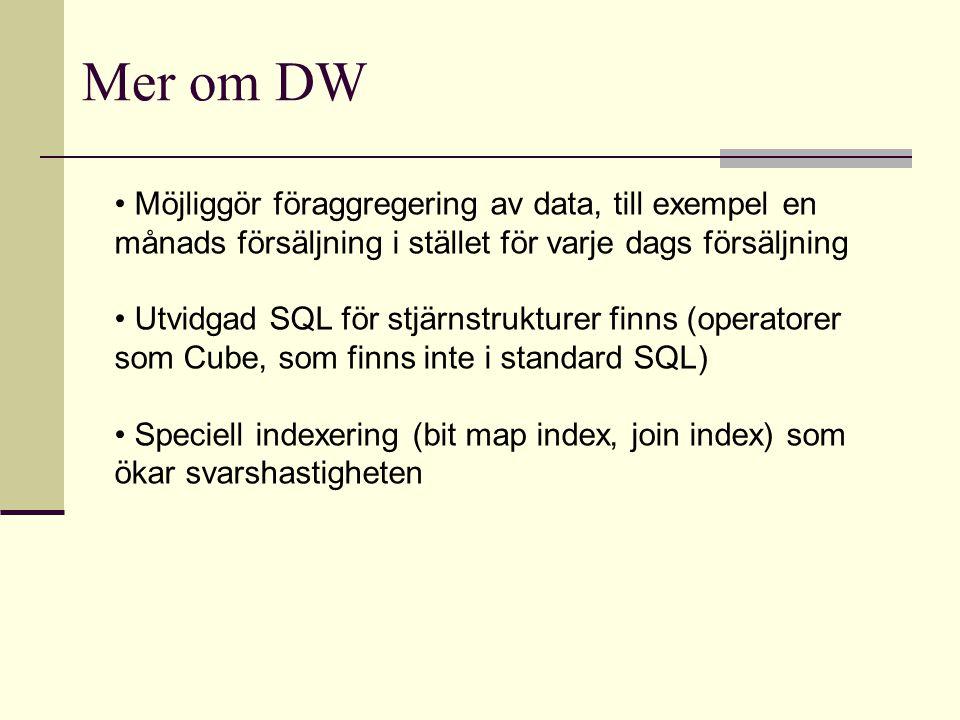 Möjliggör föraggregering av data, till exempel en månads försäljning i stället för varje dags försäljning Utvidgad SQL för stjärnstrukturer finns (ope
