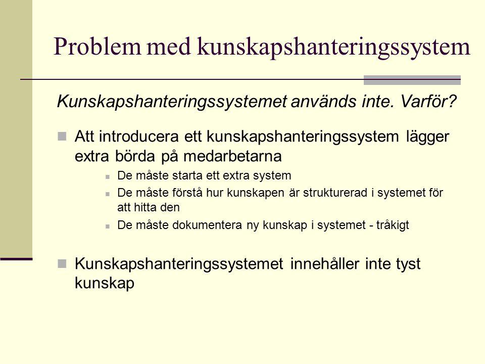 Problem med kunskapshanteringssystem Att introducera ett kunskapshanteringssystem lägger extra börda på medarbetarna De måste starta ett extra system