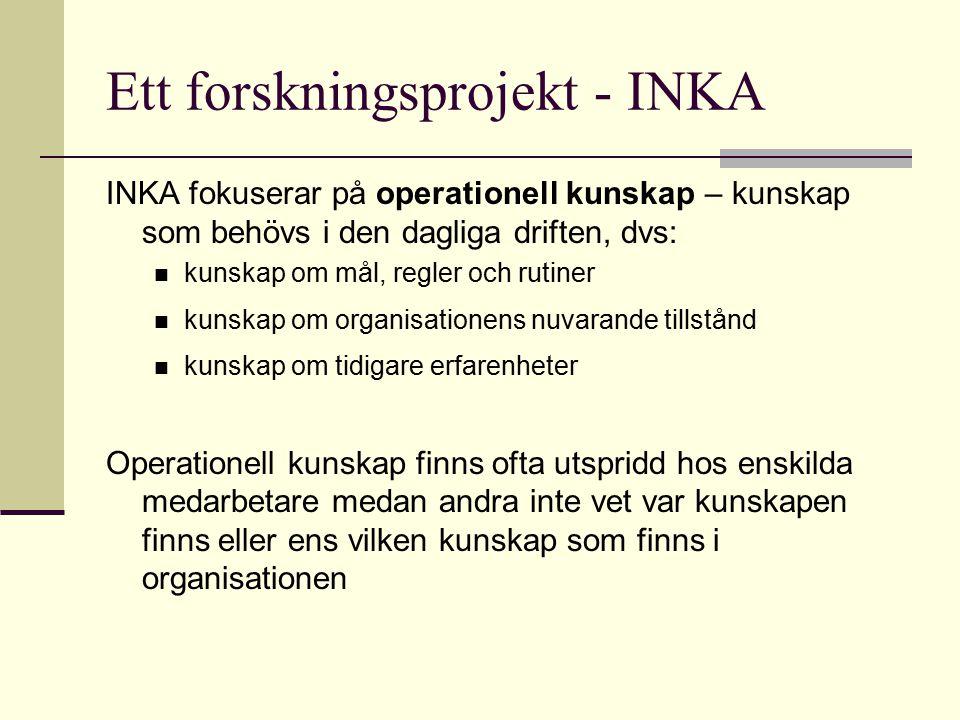 Ett forskningsprojekt - INKA INKA fokuserar på operationell kunskap – kunskap som behövs i den dagliga driften, dvs: kunskap om mål, regler och rutine