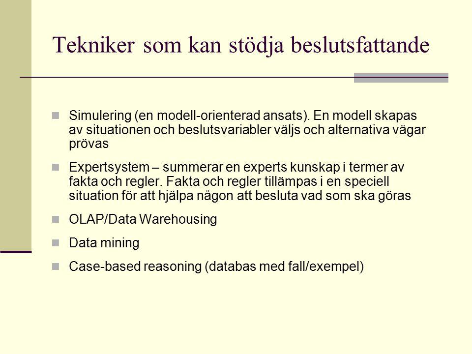 Tekniker som kan stödja beslutsfattande Simulering (en modell-orienterad ansats). En modell skapas av situationen och beslutsvariabler väljs och alter